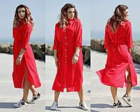 Красное платье в горошек / штапель / Украина 36-4026