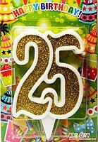Свеча для торта цифра 25 золото