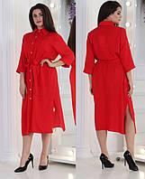 Красное платье в горошек / штапель / Украина 36-04026
