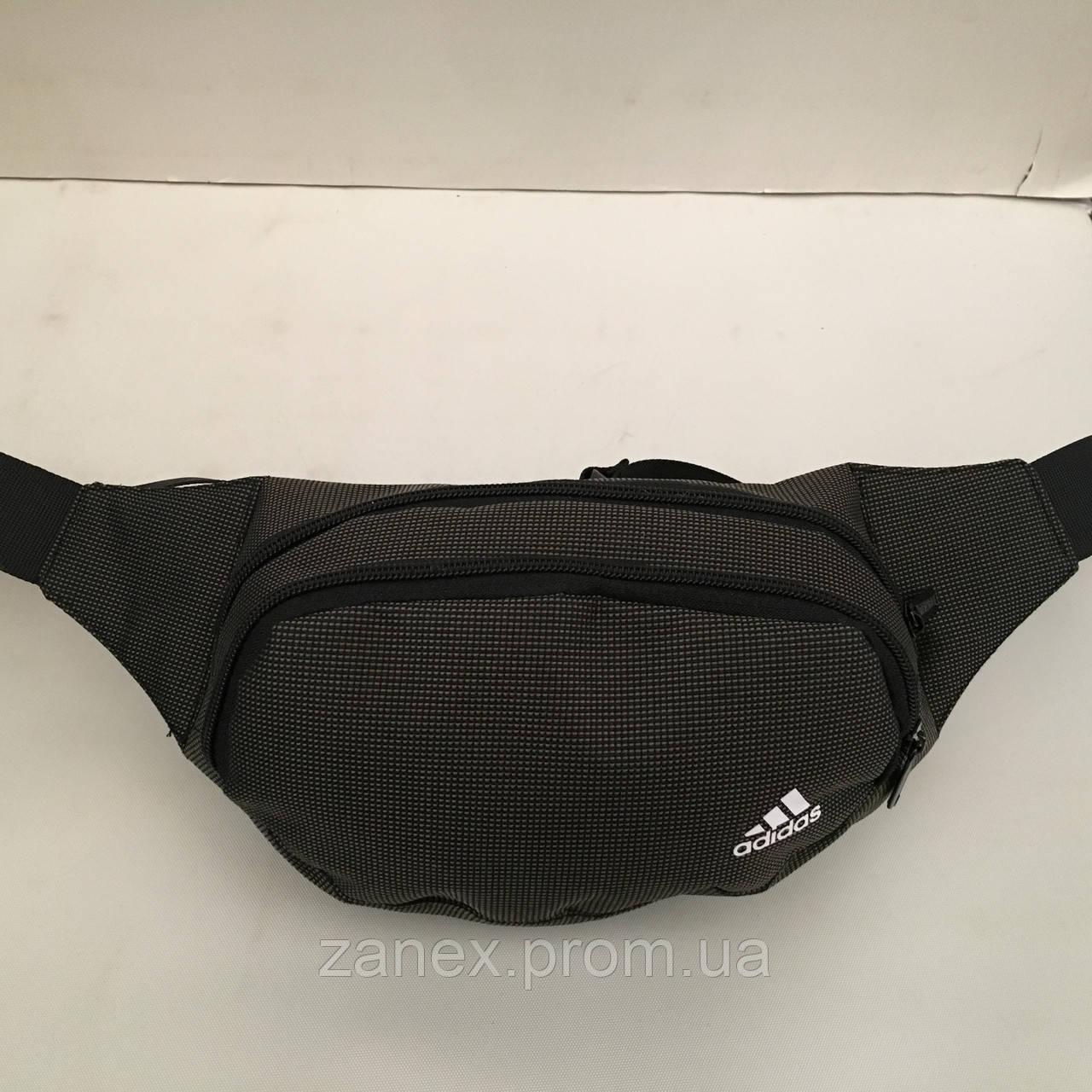 Поясная сумка черная Adidas 2 отделения (Бананка, Сумка на пояс, сумка на плечо)