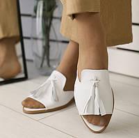 Модные женские кожаные шлепанцы шлепки мюли сабо на низком ходу без каблука белые IR31VN33SE