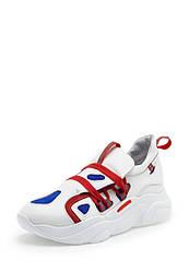 Кроссовки женские белые с красным кожаные (01886)