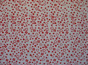Фетр белый с рисунком  красные сердечки 21смХ21см