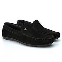 Кожаные мокасины для подростков мальчиков замшевые Rosso Avangard Alberto mS Black Vel