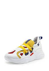 Кроссовки женские белые с желтым кожаные (01885)