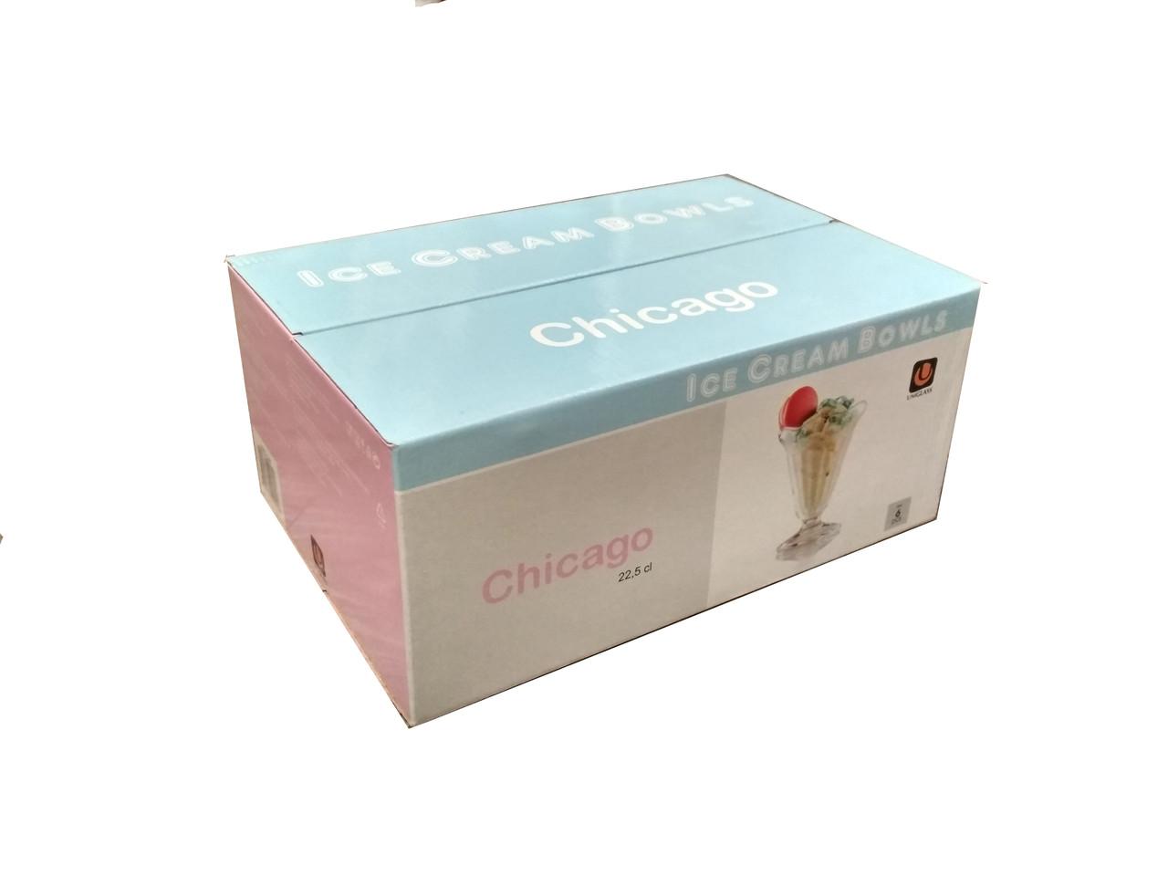Набор креманок 235 мл стеклянных 6 шт для мороженого и десертов UniGlass Chicago