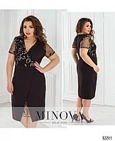 Нарядное черное платье с вставкой из сетки с вышивкой №358, размер 52,54,56,58
