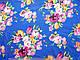 Креп-шифон цветочный букет, электрик, фото 2