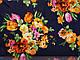 Креп-шифон цветочный букет, темно-синий, фото 2
