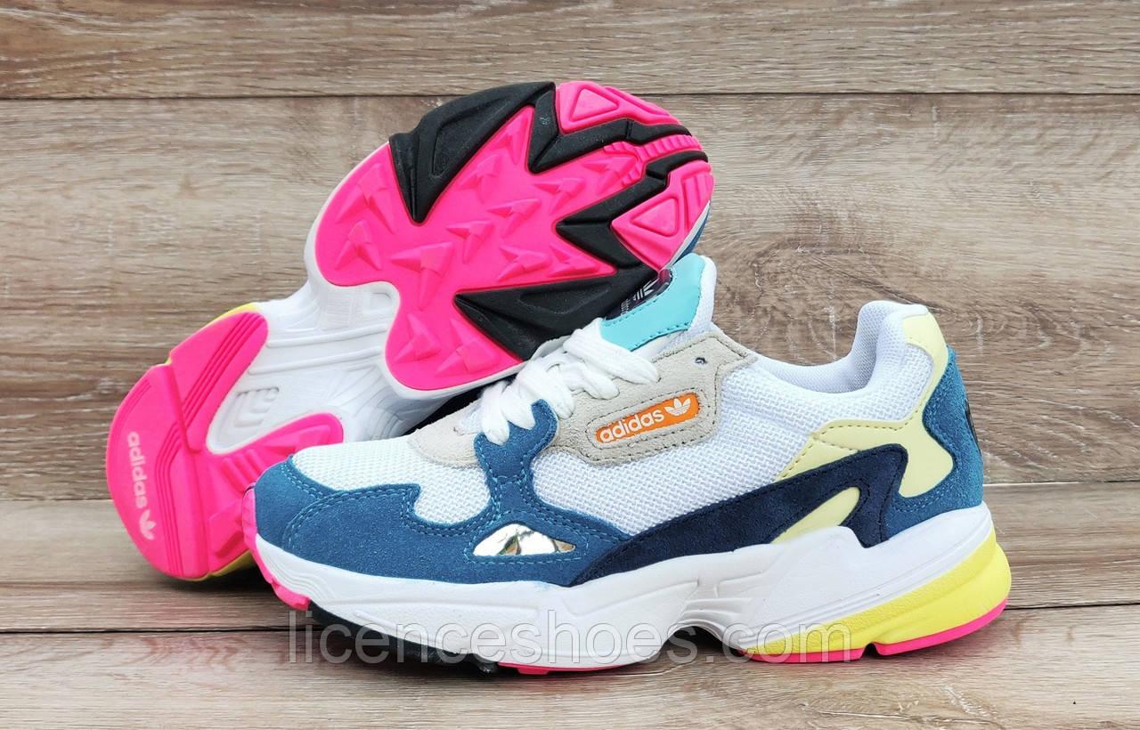 Детские, подростковые кроссовки Adidas Falcon Lake Blue/White/Pink ТОЛЬКО 40 - стелька 25.5см на стопу от 25см