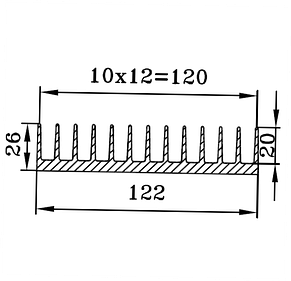 Радиаторный профиль 122х26, фото 3