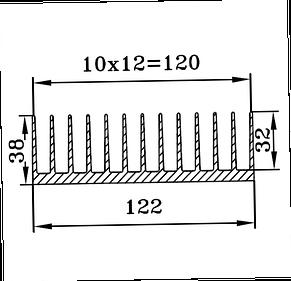 Радиаторный профиль 122х38, фото 3