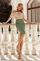 Высокая юбка-карандаш. Бесплатная доставка зеленый