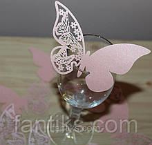 Комплект ажурных  бабочек для декора стола, бокалов/рассадочные карточки -10 шт. (кремовый)