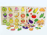 Развивающая игра овощи, фрукты( сортер) деревянный пазл