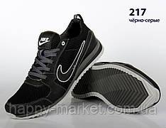 Кожаные кроссовки Nike (реплика) со вставками сетки (217 чёрно серая)