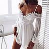 Белый шифоновый комбинезон женский с кружевом