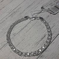 Браслет серебряный, 175 мм, арабка с фианитами, светлое
