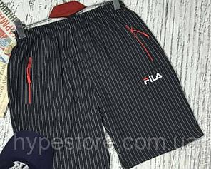 Мужские спортивные шорты Fila (черные в полоску), Реплика