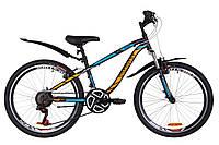 """Велосипед горный подростковый 24"""" Discovery Flint Am Vbr 2019 рама 13"""" с крылом черно-синий с оранжевым"""