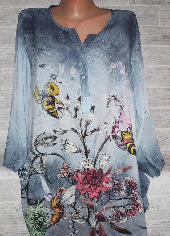 Блузка женская 5068 принт цветы 50-56 батал (лето)