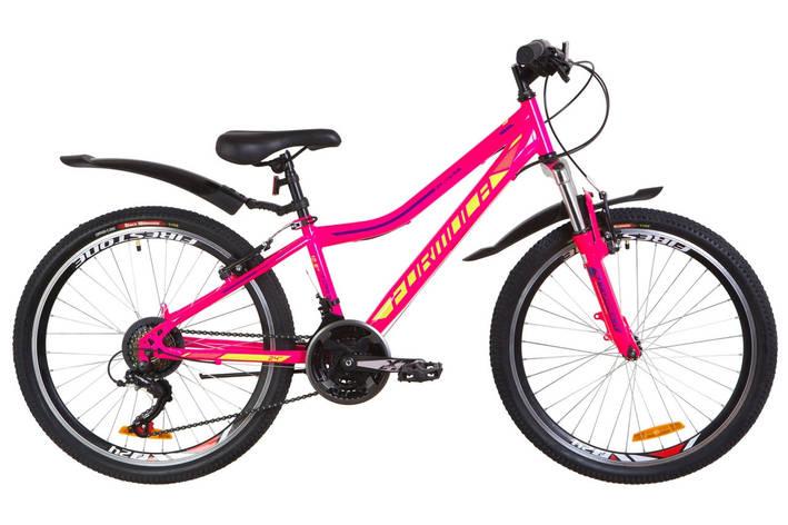 """Велосипед горный подростковый 24"""" Formula Forest AM 2019 стальная рама 12,5"""" малиновый с салатовым, фото 2"""