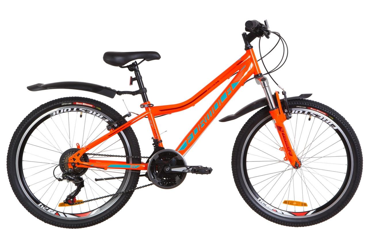 """Велосипед гірський підлітковий 24"""" Formula Forest AM 2019 сталева рама 12,5"""" оранжево-бірюзовий"""