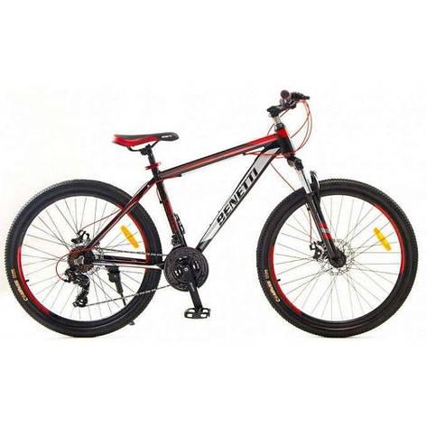 """Велосипед гірський Benetti 26 Vento DD алюмінієва рама 15,5"""" 17,5"""" чорно-червоний, фото 2"""