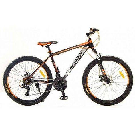 """Велосипед горный Benetti 26 Vento DD алюминиевая рама 15,5"""" 17,5"""" черно-оранжевый, фото 2"""