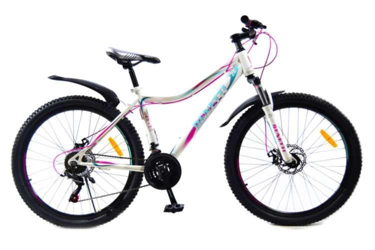 """Велосипед горный Benetti 26 Carino DD стальная рама 15"""" 17"""" бело-фиолетовый"""