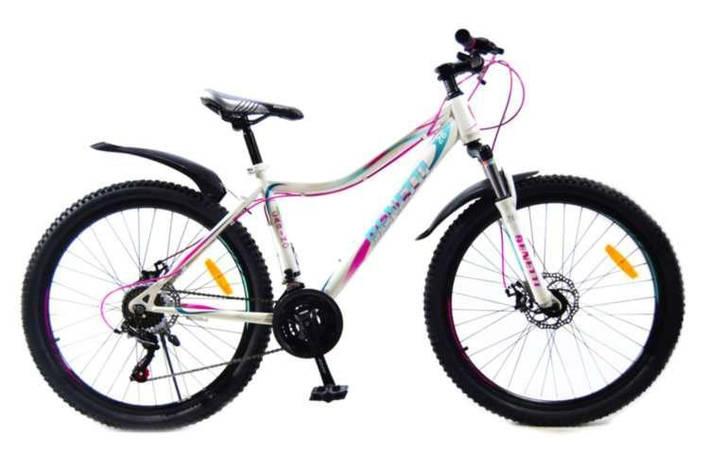 """Велосипед горный Benetti 26 Carino DD стальная рама 15"""" 17"""" бело-фиолетовый, фото 2"""