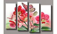 Модульная картина Бабочки на орхидеях 72х106.5 см (HAF-145)