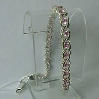 Браслет серебряный с розовыми фианитами, 185 мм, арабка