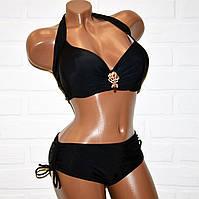 Большой 58 размер черный купальник женский, раздельный, с брошкой