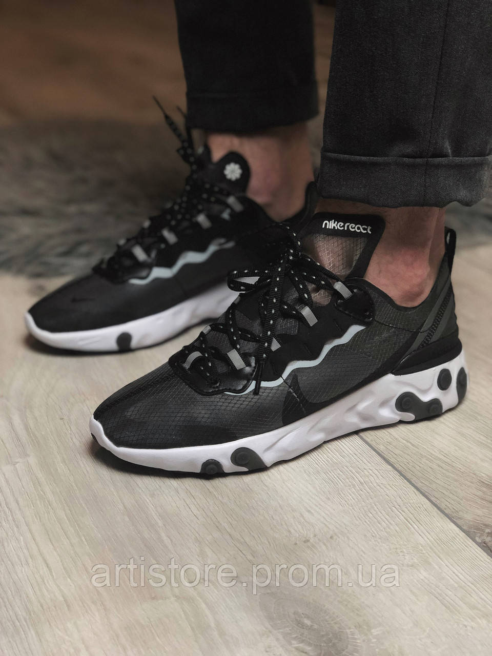 Кроссовки Nike Undercover React Element 87 Black with grey Черные с серым