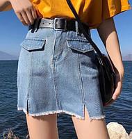 Юбка женская джинсовая мини с ремешком, фото 1