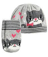 Детская шапка и варежки для девочки  12-24 месяца