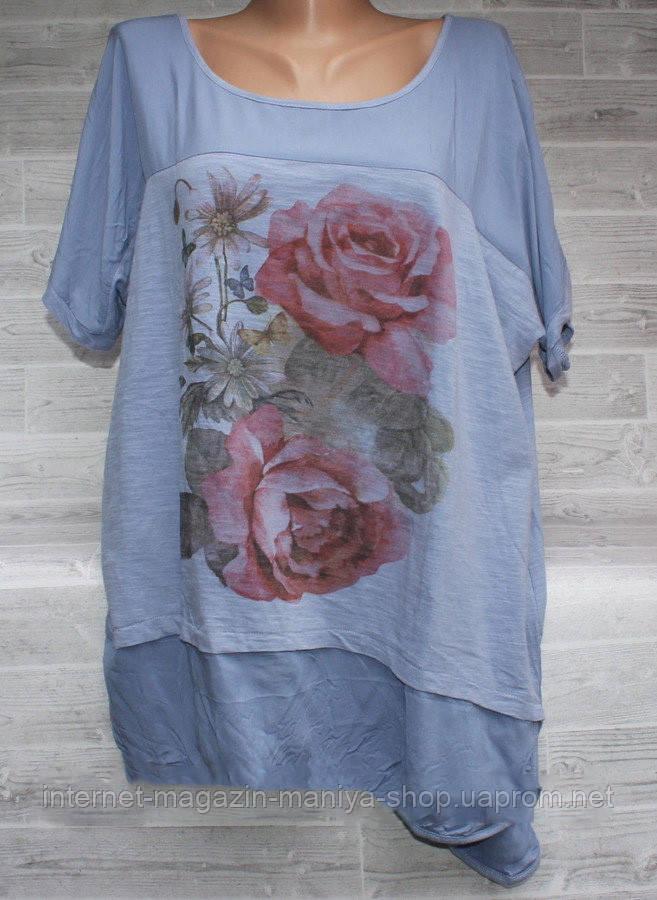 Блузка женская 3716 розы универсал 52-54 батал (лето)