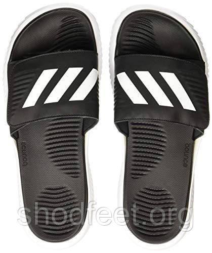 Мужские шлепанцы Adidas Alphabounce Slides Black White Реплика