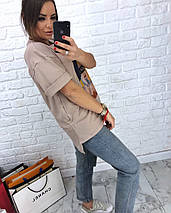 Женская футболка бежевого цвета с модным принтом 42-46 р, фото 3