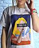 Женская футболка бежевого цвета с модным принтом 42-46 р, фото 2