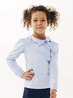 Блуза школьная с фатиновым бантом Смил 114646, цвет голубой