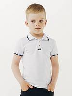 Футболка-поло для мальчика Смил, цвет белый с синей отстрочкой