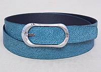 Женский кожаный бирюзовый ремень, фото 1