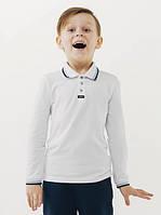 Футболка-поло для мальчика с длинным рукавом Смил, цвет белый