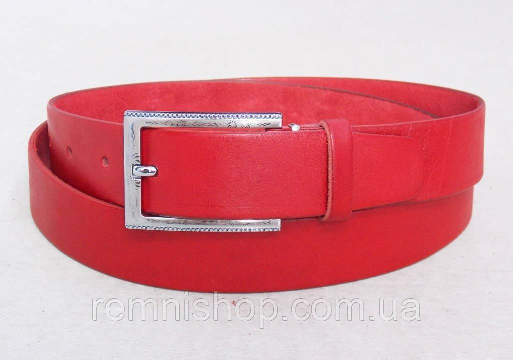 Женский кожаный красный ремень