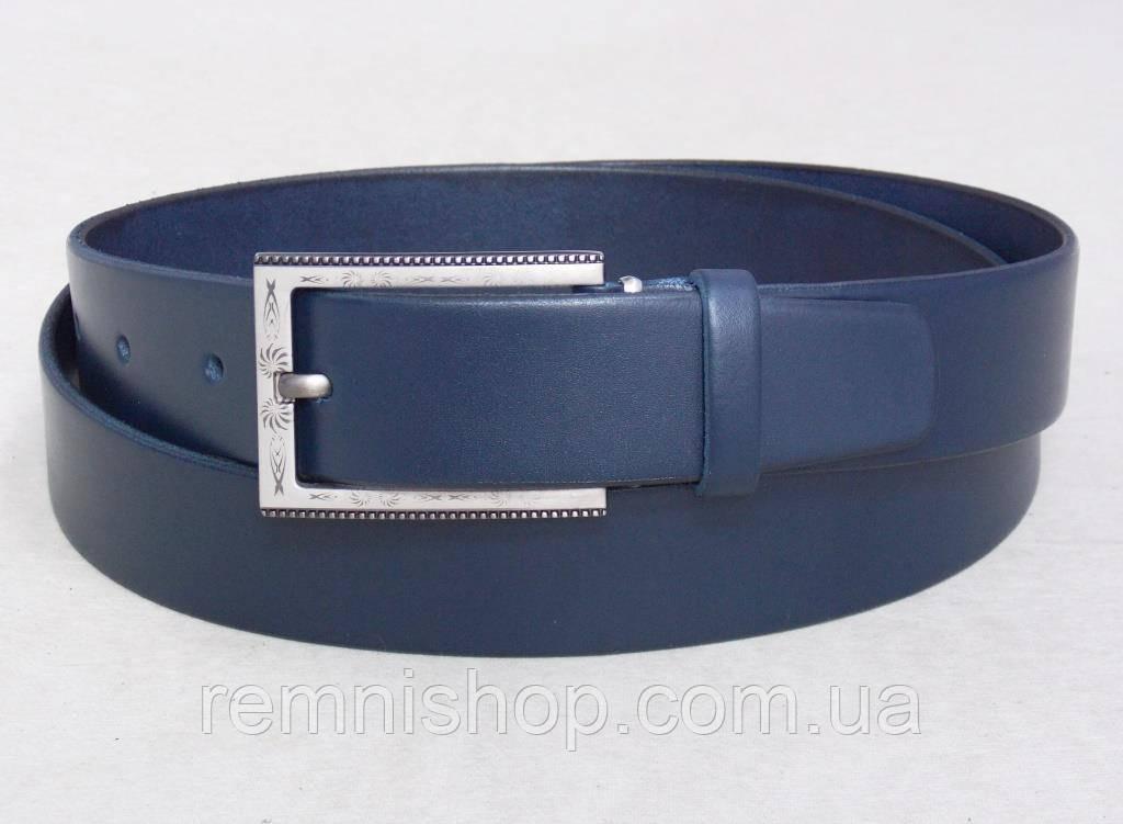 Женский синий кожаный ремень + подарочная коробка