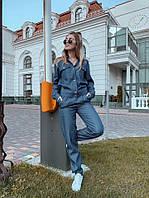 Костюм женский стильный джинсовый бомбер на кнопках и штаны с карманами  Dol1517