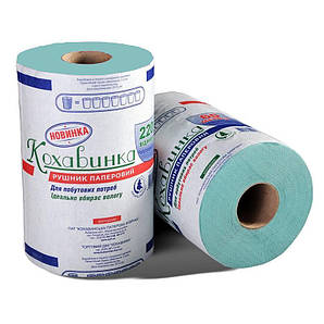 Полотенце бумажное в рулоне 1 слой, 80 м., 215х135 см. макулатурное перфорация, зеленое Кохавинка