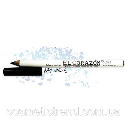 Карандаш для подводки внутреннего века  Kohl-Kajal Soft eyeliner Black Black #1 El Corazon Waterproof (черный), фото 2
